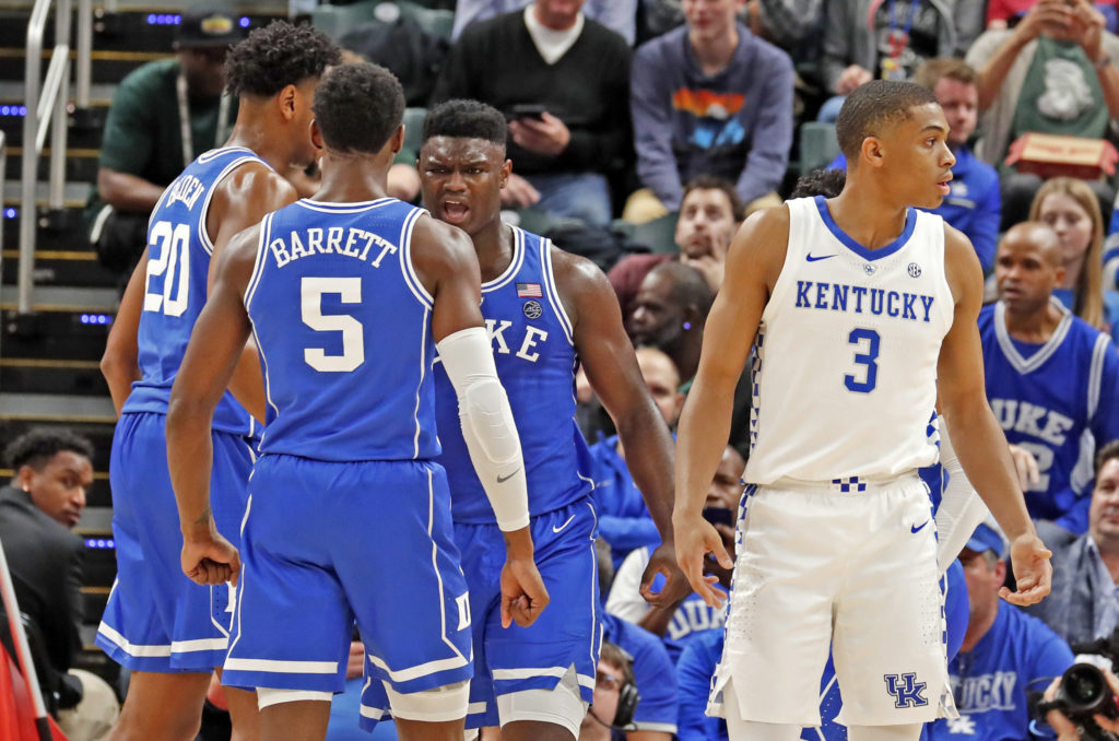 Zion Williamson R.J. Barrett Cameron Reddish Duke vs Kentucky 2018