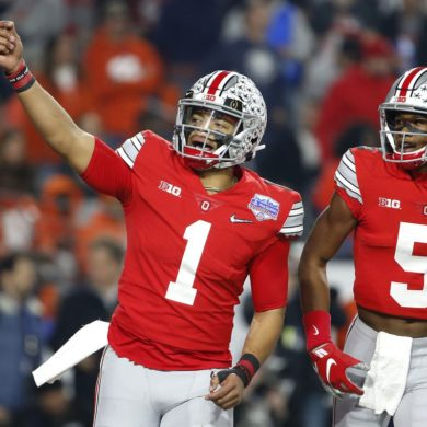 Justin Fields QB Ohio State Buckeyes Fiesta Bowl 2019 vs Clemson