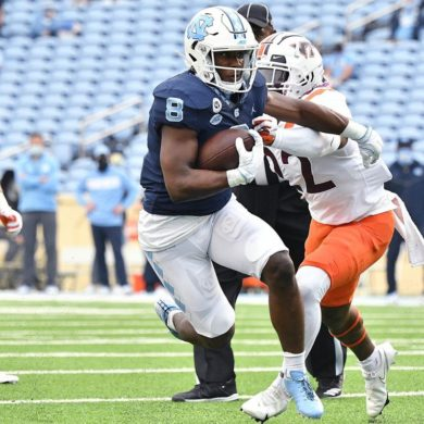 Michael Carter RB North Carolina Tar Heels vs Virginia Tech Week 6 2020
