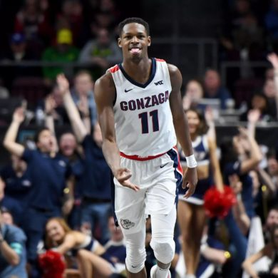Joel Ayayi Celebration Guard Gonzaga Bulldogs WCC 2019-2020